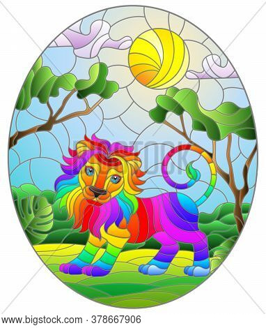 Illustration In Stained Glass Style With Cute Rainbow Lion On The Background Of Green Trees Of Cloud