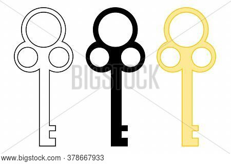 Set Of Vintage Key. The Key To The Lock Isolated On A White Background. Vector Illustration Of The B