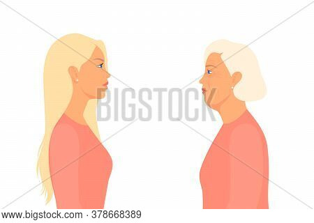 Young And Old Woman Look At Each Other In The Distance. Quarantine, Coronavirus Concept. Covid-2019.