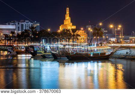 Doha, Qatar - Nov 23. 2019. Tourist Boats On Background Abdullah Bin Zaid Al Mahmoud Islamic Cultura
