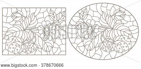 Set Of Contour Illustrations In Stained Glass Style With Strawberries, Dark Outlines On A White Back