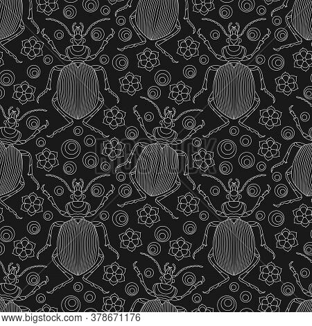 Seamless Pattern With Beetles  And Flowers, Light Contour Insects On A Dark Background