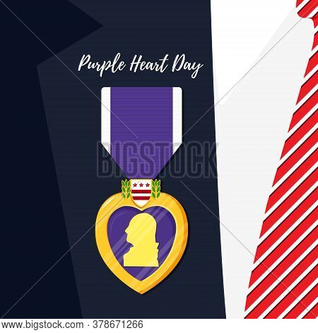 Purple Heart Badge On The Suit. Order And Purple Ribbon In Flat Style. Celebrate Honor, Courage, Mer
