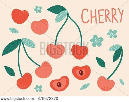 Isolated Red Cherries. Trendy Hand-drawn Vector Cherry Berries On A Soft Background. All Elements Ar