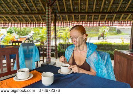Jatiluwih, Bali Indonesia - April 22, 2013: View Of Tourist At Cafe In Jatiluwih Mountain Region Of