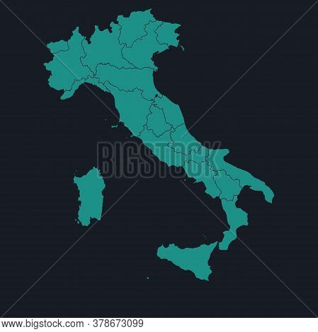 Italy Highly Detailed Map On Dark Blue Background. Cyan Blue, Cream White Background. Digital Backgr