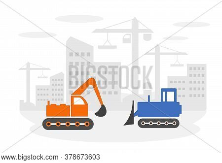 Vector Illustration Of A Construction Site With A Bulldozer And Excavator.
