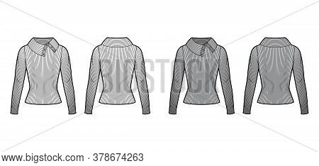 Wide Button-up Turtleneck Ribbed-knit Sweater Technical Fashion Illustration With Long Sleeves, Clos