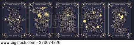 Set Of Five Mystery Cards In Black And Gold With Intricate Designs Over A Black Background, Colored