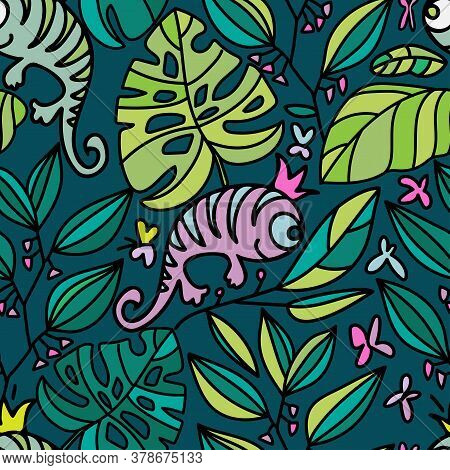 Vector Seamless Lined Tropical Colorful Pattern Of Abstract Lizards And Leaves