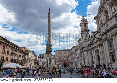 Rome, Italy - July 05, 2019: Santa Agnese Church In The Center Of Piazza Navona Square, Rome, Italy