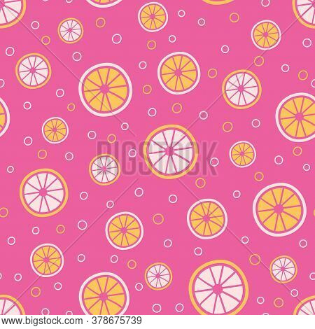 Citrus Slices Seamless Vector Pattern. Pink Lemonade Themed Surface Print Design For Summertime Text