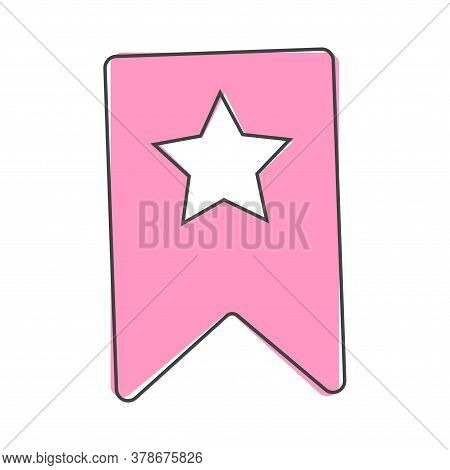 Bookmark With Star Cartoon Style On White Isolated Background.