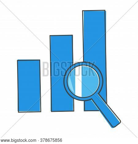 Financial Graph And Magnifier Vector Illustration. Financial Business Forecast Chart Cartoon Style O