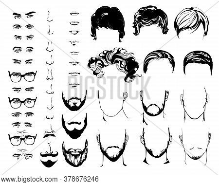 Constructor With Men Hipster Haircuts, Glasses, Beards, Mustaches, Eyes, Nose, Mouth