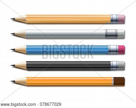 Set Of Different Lead Pencils Isolated On White Background.