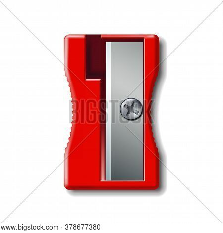 Realistic 3d Red Plastic Pencil Sharpener Isolated On White