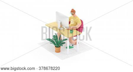 Home Office 3D render -modern concept digital illustration home office quarantine metaphor, a cartoon character, guy working at home sitting at the desktop computer. Creative landing web page header