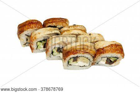 Unagi Sushi Philadelphia Rolls- Japanese Food Style. Sushi Set Isolated On White Background