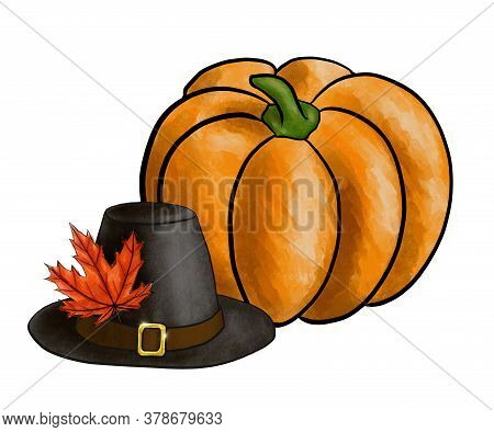 Illustration Of Symbols Of Thanksgiving Day: Pilgrim Hat With Maple Leaf And Ripe Pumpkin. Imitation