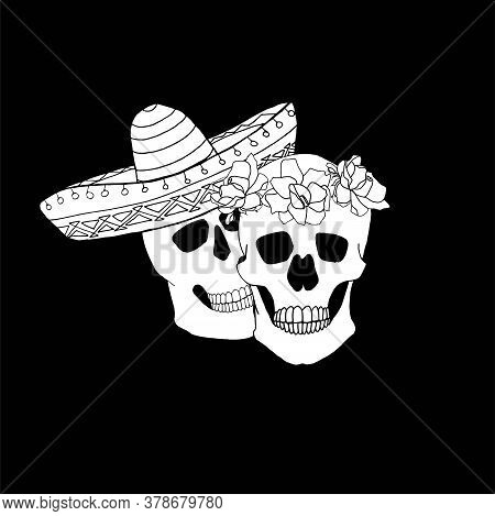 Pair Skull In Sombrero Skull In Rose Wreath Hand Drawn Graphic Ink Monochrome Design Element Stock V