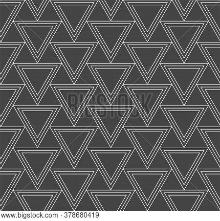 Continuous Minimal Vector Diagonal, Plexus Pattern. Repeat White Graphic Triangle Array Texture. Sea