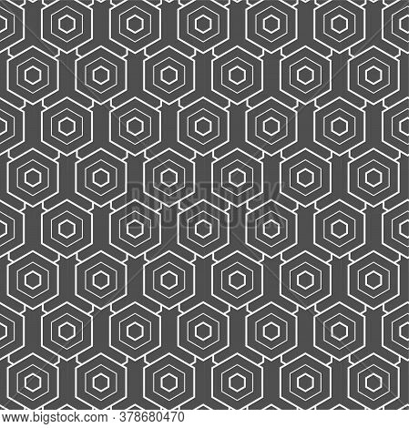 Continuous Linear Graphic Hex, Textile Pattern. Repetitive Creative Vector Honeycomb Decoration Text