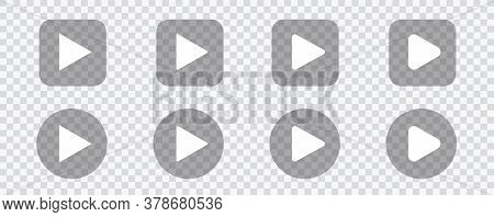 Play Video Sign. Play Sign Vector Isolated On Transparent Background. Vector Illustration Eps 10