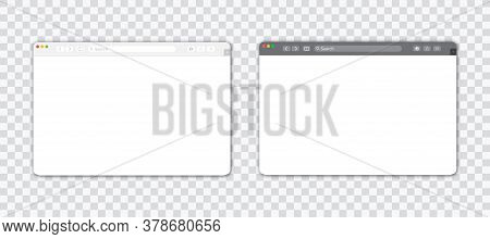 Empty Browser Window On Transparent Background. Empty Web Page Mockup With Toolbar. Display, Panel.