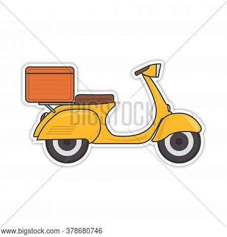 Vector Retro Scooter With A Trunk, With Boxes Vintage Stylish Moped Scooter For Delivery Isolated. E