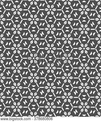 Seamless White Vector Circular Print Texture. Repetitive Creative Graphic Luxury Grid Pattern. Repea