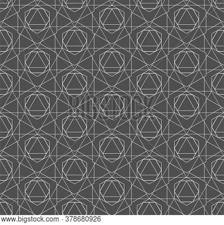 Seamless Vintage Graphic Web, Decor Pattern. Repetitive Tileable Vector Hexagon Lattice Texture. Rep