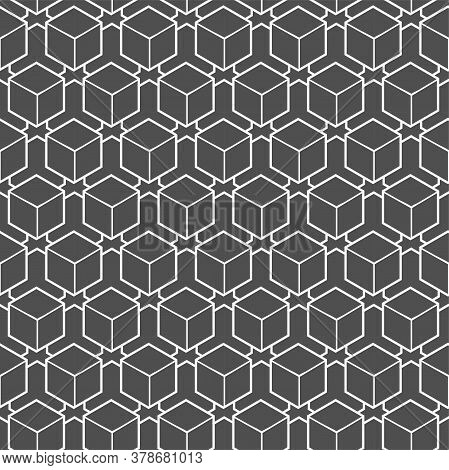 Continuous Simple Graphic Rhombus, Shapes Pattern. Seamless Geometric Vector Cell Deco Texture. Repe