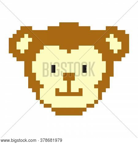 Pixel Art Monkey Head. Cute Ape For Games And Websites. Retro Video/pc Game Character. Vector 8 Bit