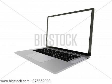 Silver Laptop Right Side View With White Screen Isolated On White Background