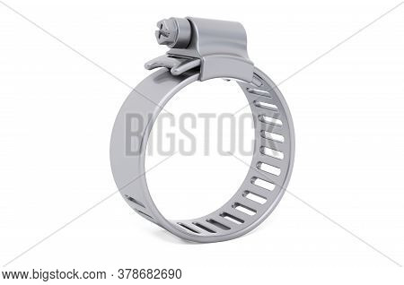 Adjustable Stainless Steel Worm Gear Hose Clamp, Water Pipe Clamps. 3d Rendering Isolated On White B