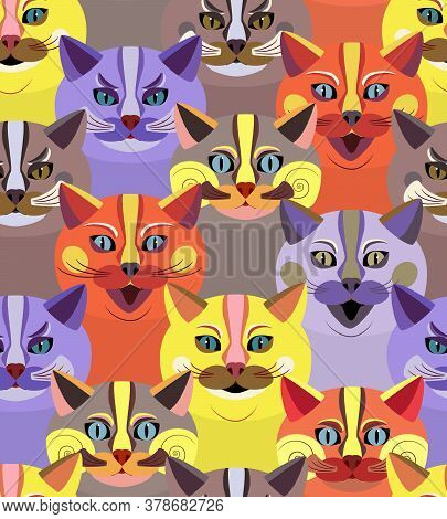 Seamless Pattern With Bright Cute Cats. Endless Texture With Cartoon Animal Faces. Childrens Print.