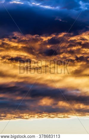 Dark Clouds And Bright Sunlit Sky At Sunset And Some Clouds, Real Spectacular Natural Phenomena , De