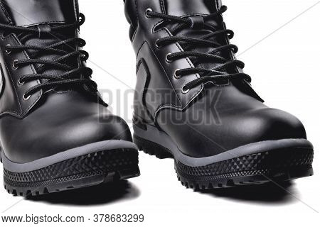 Winter Men's Black Leather Shoes On A White Background, Hiking Shoes, Practical Off-road Shoes, Clos