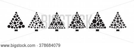 Christmas Tree Icons, Stylized Ornament, Black Silhouettes Isolated On White Background. Vector Illu