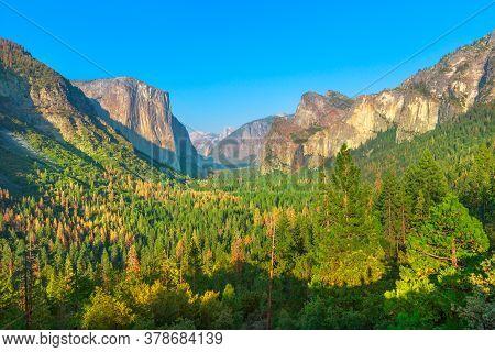 Panorama At A Scenic Overlook In Yosemite National Park, California, United States. El Capitan, Half