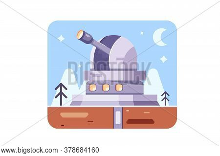 Science And Technology Observatory With Scientific Equipment And Optical Instruments For Observing T