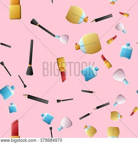 Seamless Pattern Of Beauty, Cosmetics For Makeup, Facial Skin Care. Cream, Powder, Mascara, Lipstick
