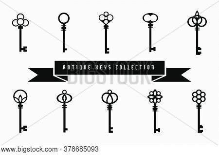 Vector Antique Keys Collection. Set Of Ten Unique Key's Designs Victorian Style