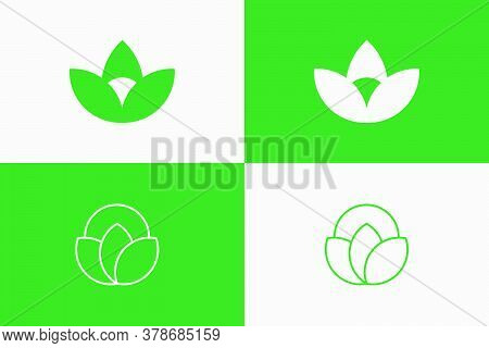 Set Nature Lotus Inspired Logo Concept. Two Unique Designs For Your Brand, Fitting For Cosmetics, He