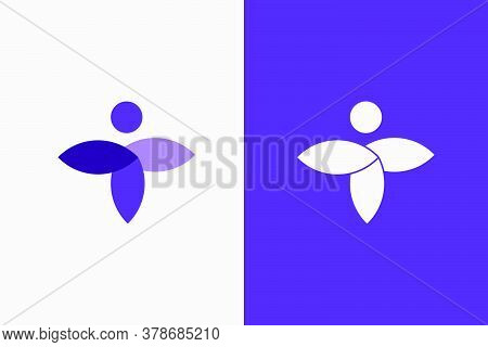 Natural Balance Person And Leaf Concept Purple Logo. Unique Design For Your Brand, Fitting For Cosme