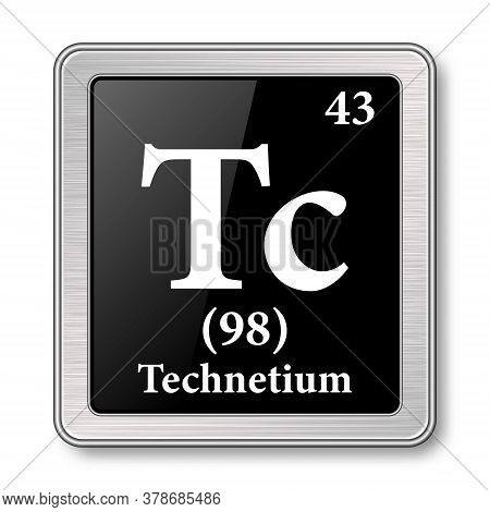 Technetium Symbol.chemical Element Of The Periodic Table On A Glossy Black Background In A Silver Fr