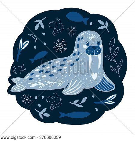 Vector Cute Cartoon Character Little Polar Walrus