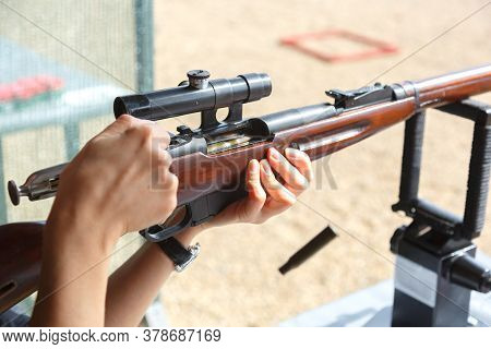 Shooting In A Dash Of Mosin Rifle With A Sniper Scope. The Time Of Recharging, Departure Of The Line