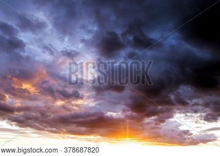Majestic And Gloomy Clouds During Sunset Or Morning Sunrise, Beautiful Bright Evening Landscape With